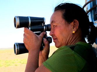 die Mutter sucht mit Fernglas die ausgebrochenen Kamele