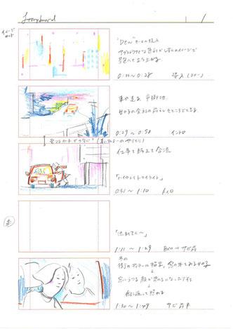 初期のストーリーボードの一部。カット割の前段階