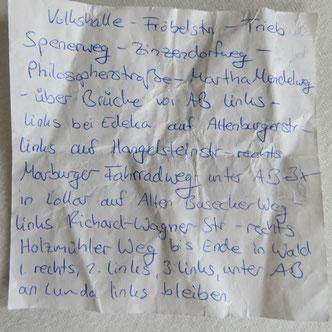 Wegbeschreibung handschriftlich Notizzettel