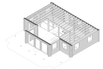 Blockhausbau - Wandzeichnungen - Blockhausplanung - Hausplanung - CAD Zeichnung - Blockhaus bauen - Holzhaus in Blockbauweise