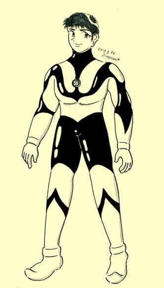 ウ○トラマンの全身タイツ姿の修平