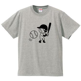 ソフトボール野球のイラストTシャツデザイン男の子バットスポーツ