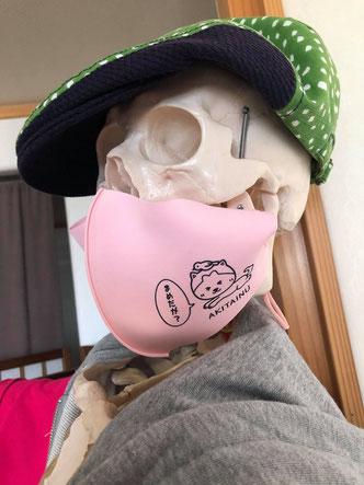 ぶさ可愛い感じの秋田犬イラストマスクデザインとガイコツ