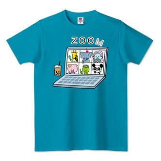 ZOOM映えする面白いイラストTシャツデザインオンライン飲み会会議用キャラクター