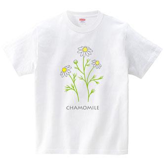 カモミール優しいイメージイラストに描いたTシャツ白デザイン