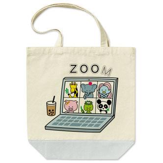 イラスト「ZOOM動物園」トートバックデザインアマビエカッパゾウきりんパンダ豚