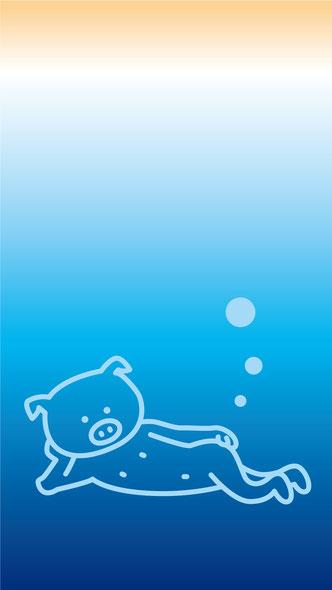 かわいいブタイラストスマホ待ち受け画面壁紙無料ダウンロードフリー青色海素材