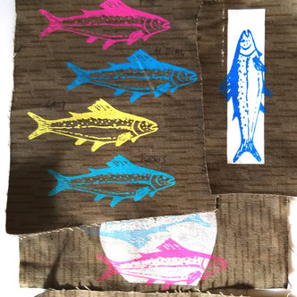 Fische bedruckt Muster