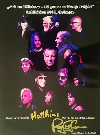 Ein von Deep-Purple-Bassist Roger Glover für mich persönlich gewidmetes Foto als Erinnerung an unsere Gemeinschaftsausstellung