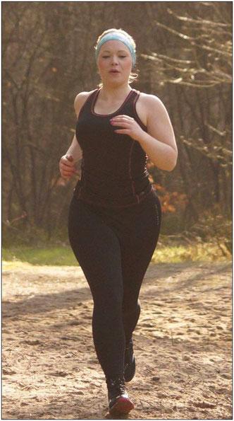 Voll motiviert! Dennoch genießt Katja die Zeit während des Laufens.