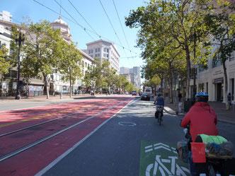 Sur les pistes cyclables de San Francisco, pilotés par Cindy