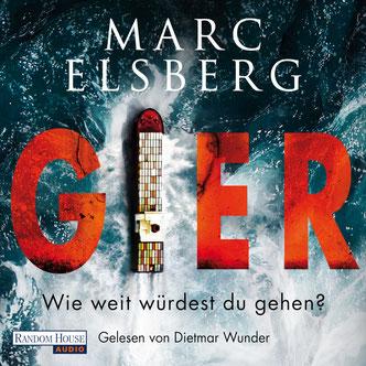 "Cover des Thrillers ""Gier"" von Marc Elsberg (Hörbuch)."