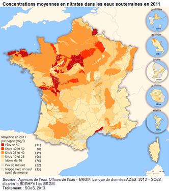 Concentrations en nitrate dans les eaux souterraines françaises. Source: ministère de l'écologie