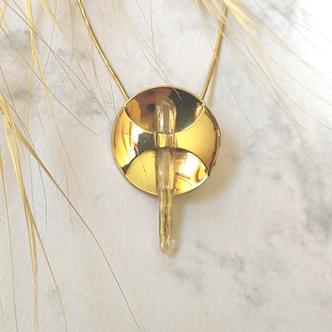 Schmuckanhänger Gold rund mit Bergkristall - Doppelender