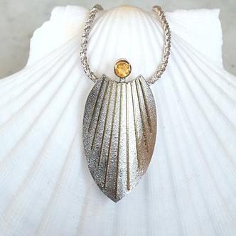 Schmuckanhänger Silber Gold rund mit Stein Feuer-Opal
