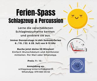 Ferien Spass in Hallwil mit der Time to Groove Schlagzeugschule