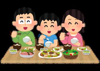 家族が食事をしているイラスト
