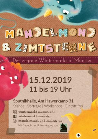 Das Plakat von Mandelmond und Zimtsterne - der vegane Wintermarkt in Münster.