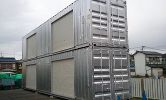 【愛知県稲沢市 清掃管理業者様に中古コンテナ40ft、新造12ftドアシャッターを納品。