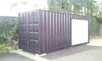 福島県 中古コンテナ20ft シャッター+つや消しブラック塗装