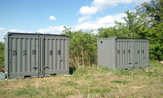 防災用倉庫としてグレー塗装12ftコンテナの納品
