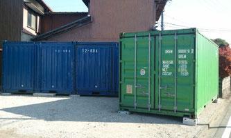 【岐阜県本巣市 製造業様に中古コンテナ12ft、20ftをタイヤ 季節物 収納 倉庫として納品。