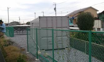 岐阜県池田町 太陽光パネル敷地内に中古コンテナ40ft シャッター+グレー塗装を納品