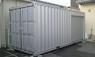【滋賀県長浜市 パッケージ加工業様】NEW VAN 20ft コンテナ シャッター付シルバー塗装 納品