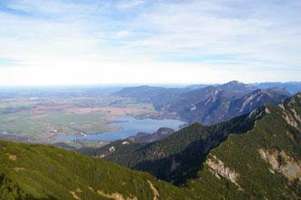 Bergkette Heimgarten-Herzogstand mit Blick auf Kochelsee