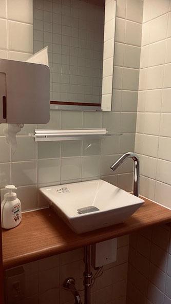 自動水栓で水道栓を触らず安心してご利用できます。