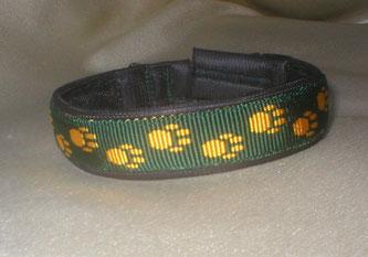 Klickverschluss, Halsband, Pfötchengurtband, 2,5cm, grün-gelb