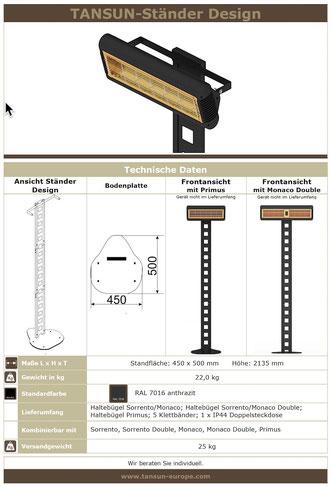 Technische Details für Heizstrahler Ständer Design