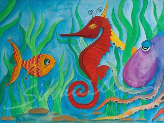 Illustration einer Szene unter Wasser, zu sehen ein Fisch mit Träne im Gesicht, ein rotes, ernst schauendes Seepferd und ein Krake. Idee zu einem Kinderbuch.