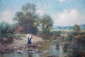 Landschafts Gemälde - Fluss - Künstler g. König - Öl