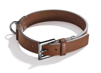 Braunes Hundehalsband aus Leder mit geschwärzter Schließe