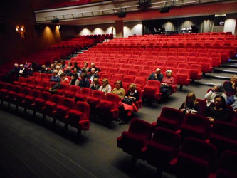 le public assis dans la salle de théâtre dans l'attente de la représentation
