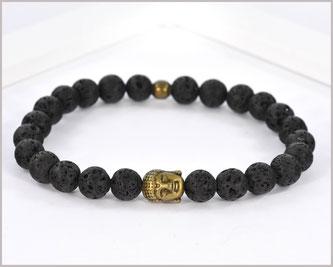 Edelsteinarmband für Männer mit Lava und Buddha