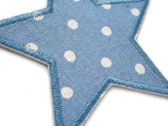 Bild: Stern Flicken blau grau mit Punkten, Bügelflicken Stern Applikation patch