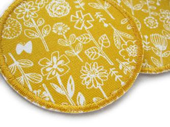 Bild: gelbe Flicken zum aufbügeln mit kleinen Blumen, runde Bügelflicken für Mädchen