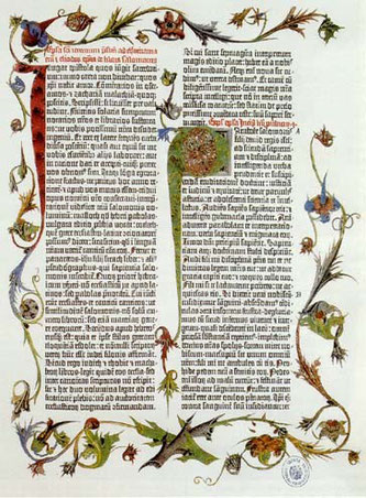 """Biblia de Gutenberg,siguiendo la Vulgata versión latina de San Jerónimo.Conocida como """"Biblia 42 líneas"""" por el número de líneas impresa a dos columnas, espléndida iluminación,su gran aportación fue el procedimiento de impresión."""