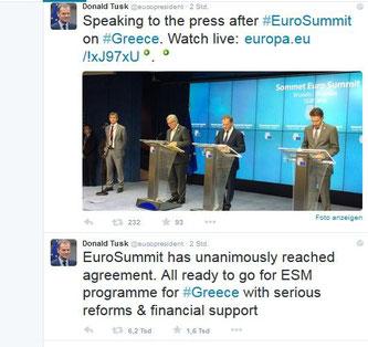 EU-Ratspräsident Donald Tusk: Alle Euro-Staaten bereit für ESM-Programm für Griechenland mit Strukturreformen und fin. Unterstützung. Screenshot: Helga Karl