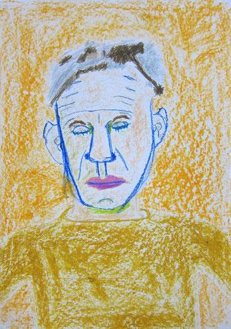 """Oktober 2013 Aaron (9 Jahre) """"Portrait G.W."""" Ölpastellkreide 63 x 40 cm"""