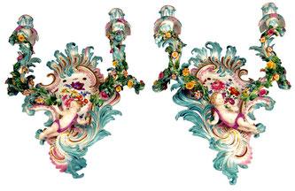 Meissen Porzellan Schwertermarke Wandleuchter Paar Kerze Wand Leuchter