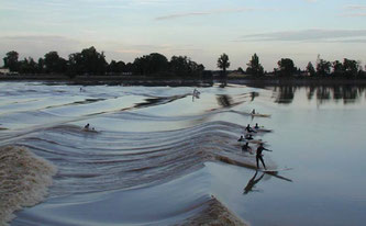 Surfers on the Dordogne River Tidal Bore.