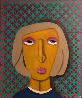 THE BORED WOMAN 50 x 60 Acryl SOLD / VERKAUFT