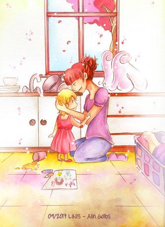 Mama ist die Beste, Held, Heldin, Illustration, Alltag, Küche