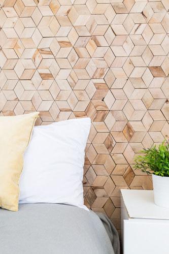 Revêtement Mural en Bois Gravé Motif Géométrique Cube 3D