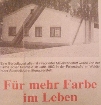 Zeitungsanzeige anlässlich des 25-jährigen Jubiläums