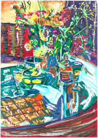 La citronnade, pastel gras et encre, Claire ALLARD