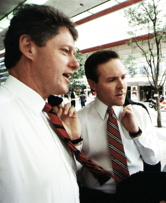 Then-Governor of Arkansas Bill Clinton and then-Governor of Mississippi Ray Mabus during a Tokyo visit, 1988.